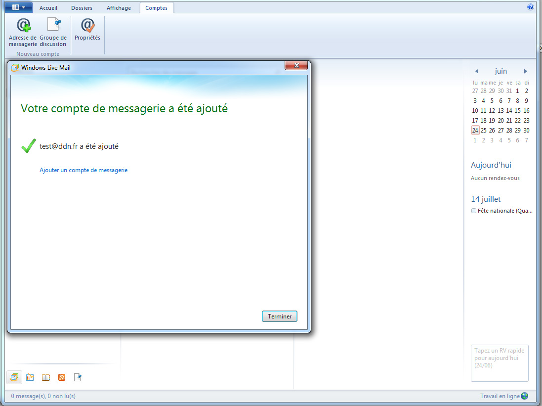 Configurer un compte Imap sous Windows Live Mail etape 3
