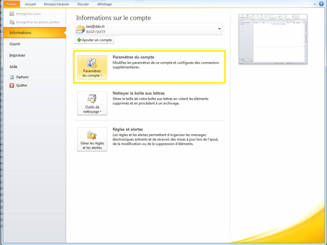 Configuration SMTP sous outlook etape 1