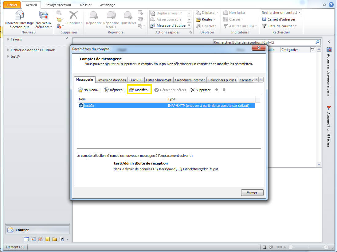 Configuration SMTP sous outlook etape 2