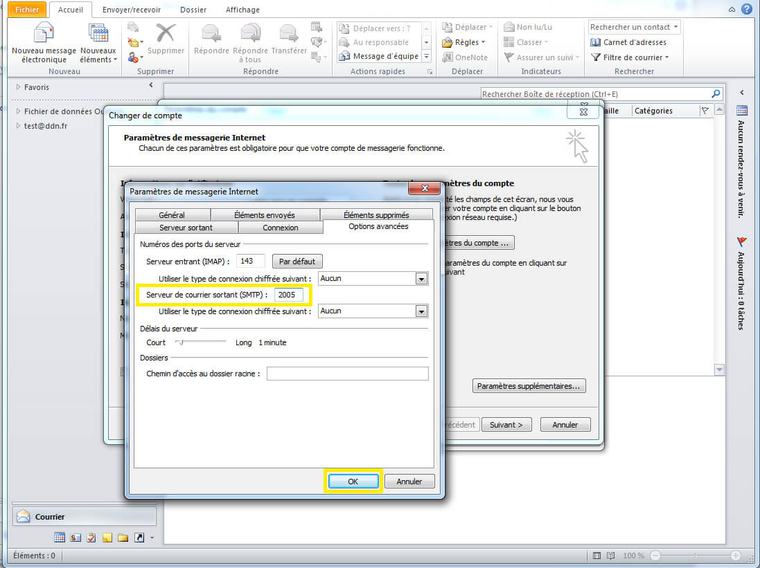 Configuration SMTP sous outlook etape 3